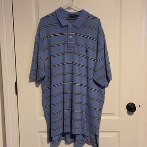 Blue Striped Polo by Ralph Lauren Golf Shirt 2XLT